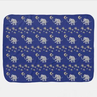Adorable Baby Elephants with Moon and Stars Baby Blanket