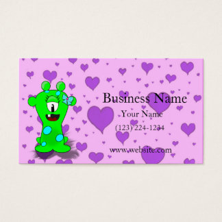 Adorable Baby Green Monster On Hearts Background Business Card