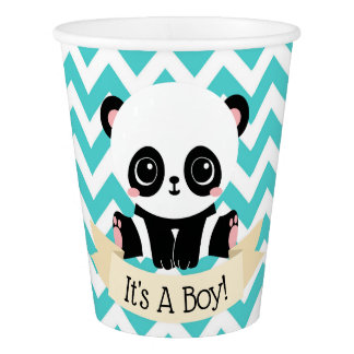 Adorable Baby Panda Blue Baby Shower Paper Cups