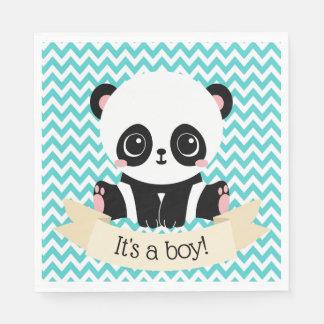 Adorable Baby Panda Blue Baby Shower Paper Napkins Disposable Serviette