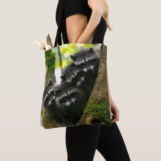 Adorable Baby Raccoons Tote Bag
