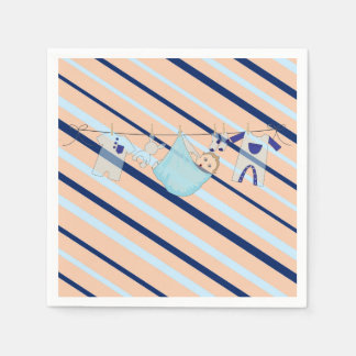 Adorable Baby Shower Blue and Orange Its a Boy Paper Napkin