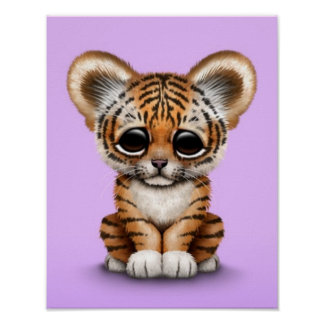 Adorable Baby Tiger Cub on Purple Poster