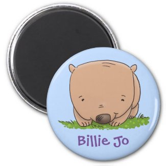 Adorable baby wombat cartoon illustration magnet