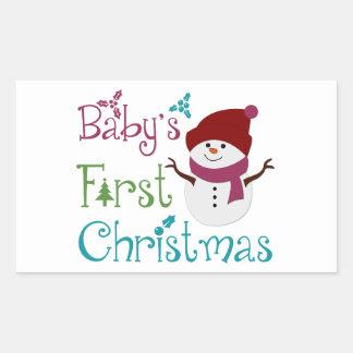 Adorable Babys First Christmas Rectangular Sticker