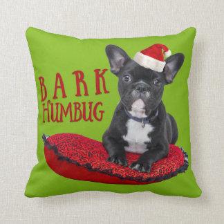 Adorable BARK Humbug French Bulldog Christmas Cushion