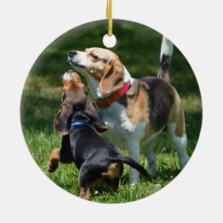Adorable Beagle Puppy and Mom Round Ceramic Decoration