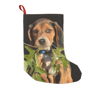 Adorable Beagle Puppy Carrying Leaves Small Christmas Stocking