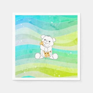Adorable Bear Hugging Giraffe Watercolor Stripes Paper Napkins