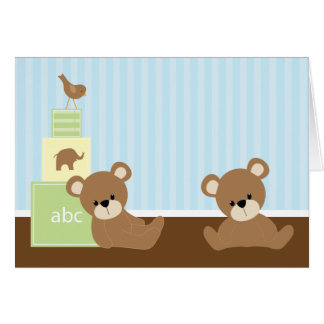 Adorable Bears Twins Baby Shower Thank You Greeting Card