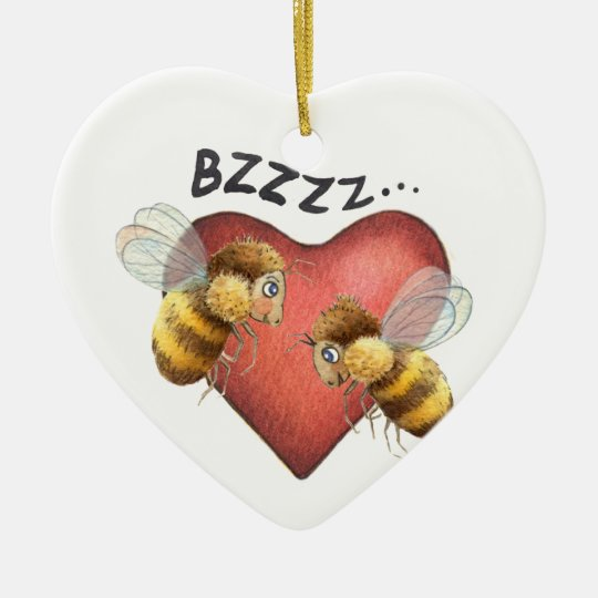 Adorable Bees and Heart Shape Christmas Ornament