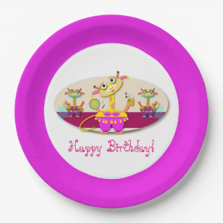 Adorable Bellydancing Giraffe Cartoon Paper Plate
