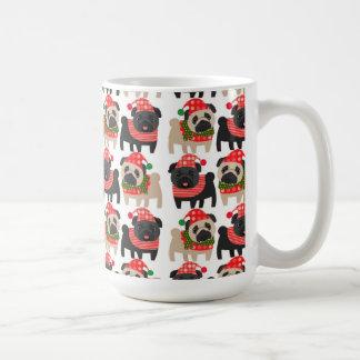 Adorable Black and Fawn Christmas Pugs Basic White Mug