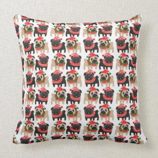 Adorable Black and Fawn Christmas Pugs Cushions