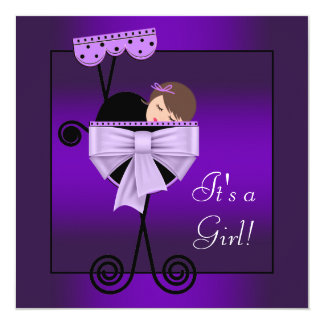 Adorable Black and Purple Baby Shower Invites