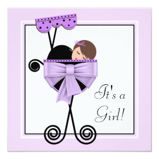 Adorable Black and Purple Baby Shower Invitations