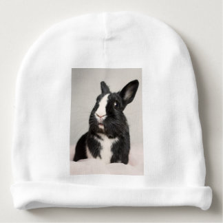 Adorable Black and White Bunny Rabbit Baby Beanie