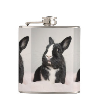 Adorable Black and White Bunny Rabbit Hip Flask