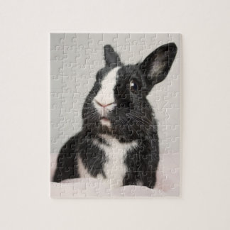 Adorable Black and White Bunny Rabbit Jigsaw Puzzle