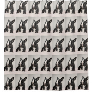 Adorable Black and White Bunny Rabbit Shower Curtain
