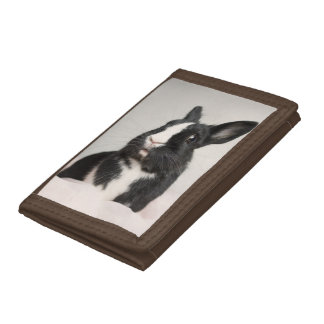 Adorable Black and White Bunny Rabbit Trifold Wallets