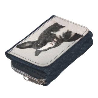Adorable Black and White Bunny Rabbit Wallet