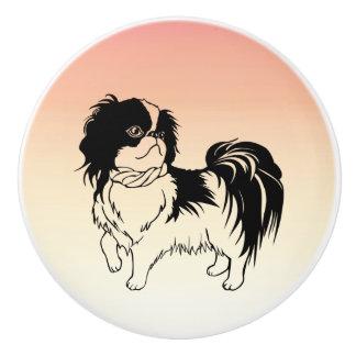 Adorable Black and White Dog Orange Ceramic Knob
