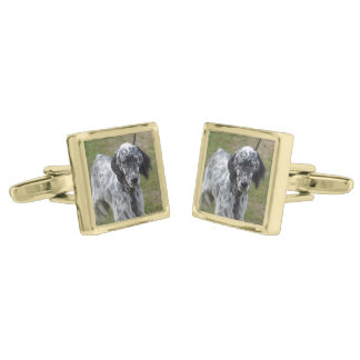 Adorable Black and White English Setter Gold Finish Cuff Links