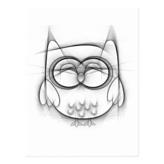 Adorable Black and White Owl Sketch Postcard