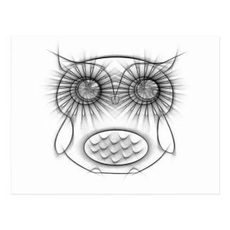 Adorable Black and White Owl Sketch Postcard