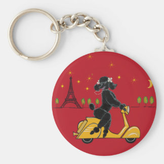 Adorable Black Poodle on a  in Paris Basic Round Button Key Ring