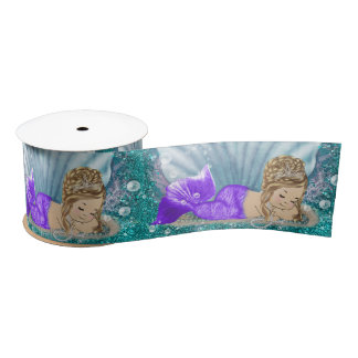 Adorable Blonde Mermaid Baby Shower Party Ribbon Satin Ribbon