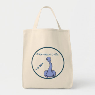 Adorable Blue Dinosaur Mommy To Be Baby Shower Grocery Tote Bag