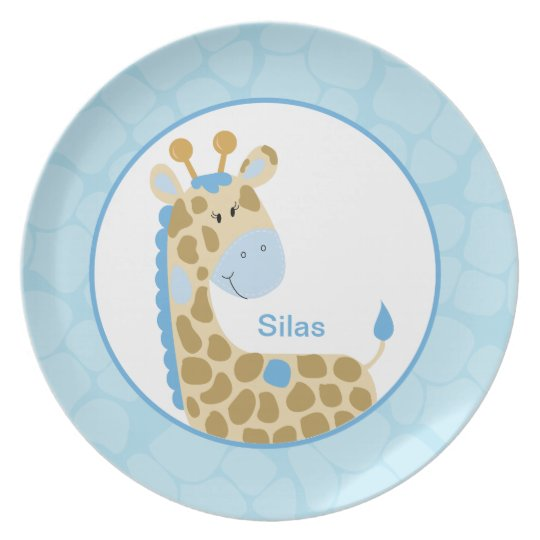 Adorable Blue Giraffe Customisable Plate