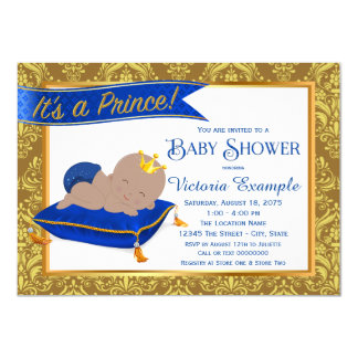 Adorable Blue Gold Ethnic Prince Baby Shower 11 Cm X 16 Cm Invitation Card
