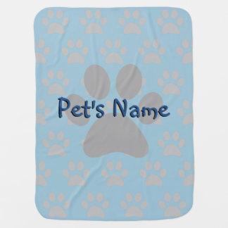Adorable Blue Paw Print Male Custom Pet Blanket Receiving Blanket
