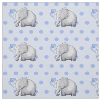Adorable Blue Polka Dots Elephants Baby Nursery Fabric