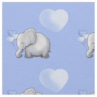 Adorable Blue Polka Hearts Elephants Baby Nursery Fabric