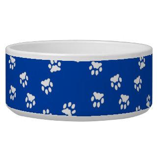Adorable Blue White Paw Printed Large Dog Bowl