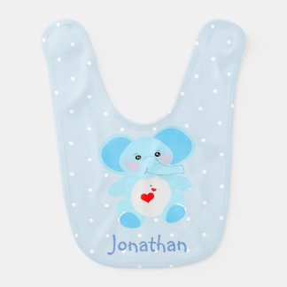 Adorable blue White Polka Dot Elephant Baby Boy Bib
