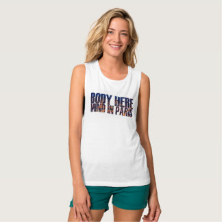"Adorable ""Body Here, Mind in Paris"" Cute Girly Tee"