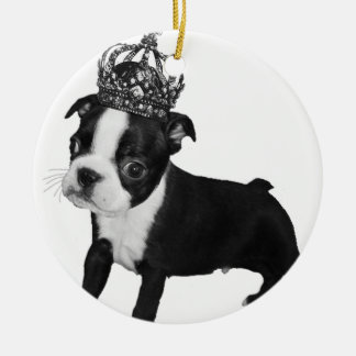 Adorable BOSTON TERRIER Puppy DOG Crown Round Ceramic Decoration