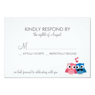 Adorable Bride and Groom Owls Wedding RSVP Card 9 Cm X 13 Cm Invitation Card