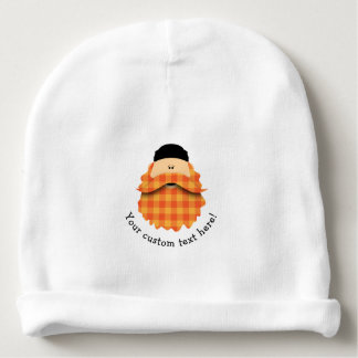 Adorable Bright Orange Plaid Bearded Character Baby Beanie