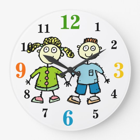 Adorable Brother & Sister Kids Drawing Wall Clock