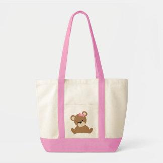 Adorable Brown Baby Girl Bear Impulse Tote Bag