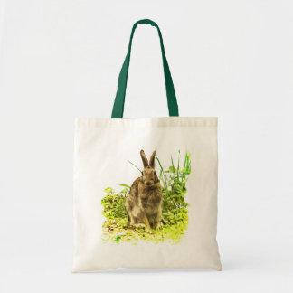 Adorable Brown Bunny Rabbit Green Grass Tote Bag