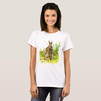 Adorable Brown Bunny Rabbit in Green Grass Shirt