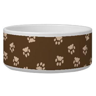 Adorable Brown Paw Printed Large Dog Bowl