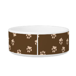 Adorable Brown Paw Printed Medium Dog Bowl
